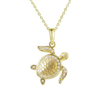 Alamea 14k Yellow Gold Diamond Turtle Pendant