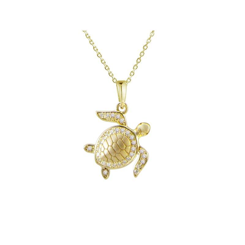Sealife Jewelry Alamea 14k Yellow Gold Diamond Turtle Pendant