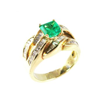 Genuine Emerald and Diamond Ring in 14k Yellow Gold - 2395