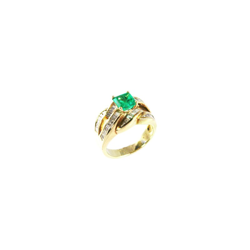 Signature Collection Genuine Emerald and Diamond Ring in 14k Yellow Gold - 2395