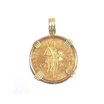 Genuine Netherlands Ducat Gold Coin framed in 14k Yellow Gold