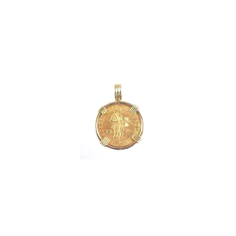 Coin Jewelry Genuine Netherlands Ducat Gold Coin framed in 14k Yellow Gold