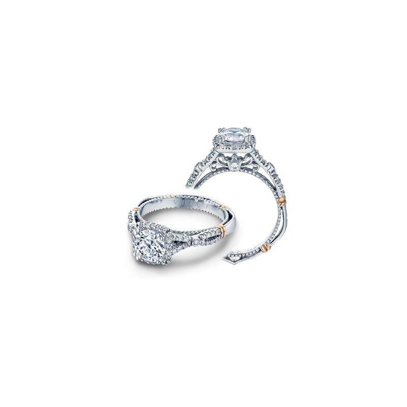 Verragio Verragio Parisian D-109CU - 14k White and Rose Gold Diamond Cushion Halo Engagement Ring by Verragio