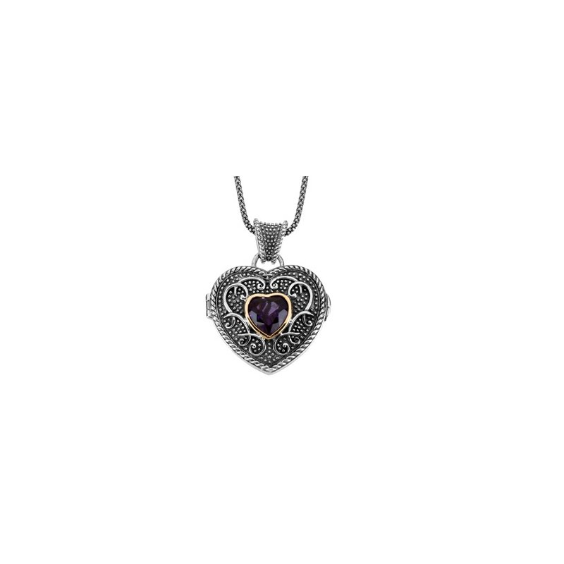 Signature Collection Genuine Amethyst Heart Locket Necklace