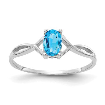 14k White Gold Blue Topaz Solitaire Ring