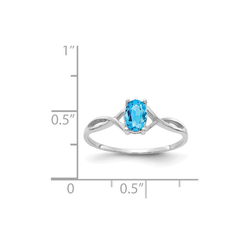Signature Collection 14k White Gold Blue Topaz Solitaire Ring
