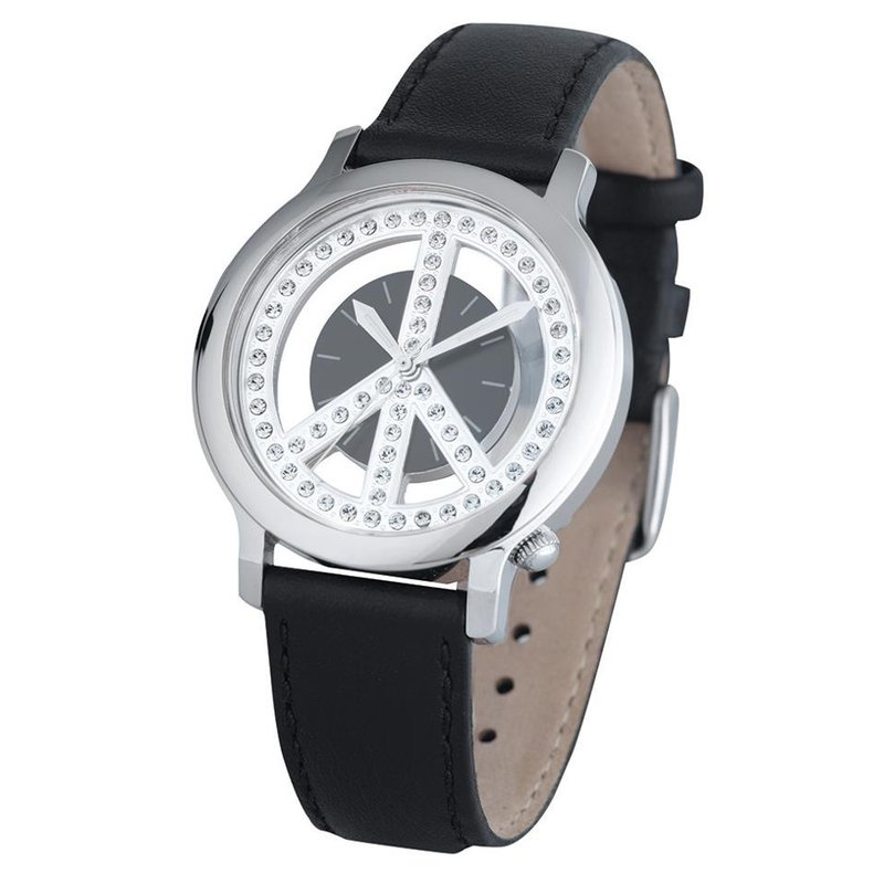 Swiss Watches Ladies Peace Movement Watch with a Black Leather Strap