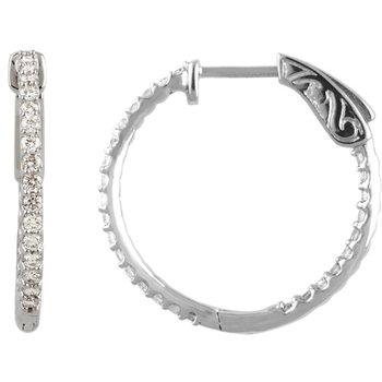 14k White Gold Inside Out Diamond Hoop Earrings - #E3/4CTW