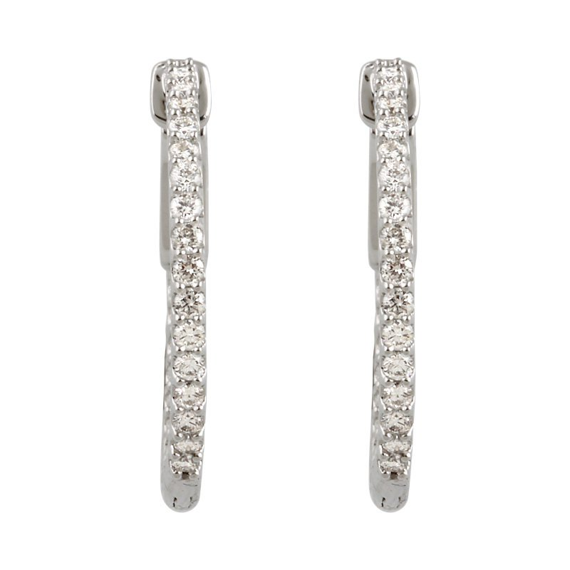 Signature Collection 14k White Gold Inside Out Diamond Hoop Earrings - #E3/4CTW