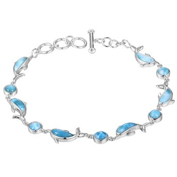 Sterling Silver Dolphin and Ball Larimar Bracelet