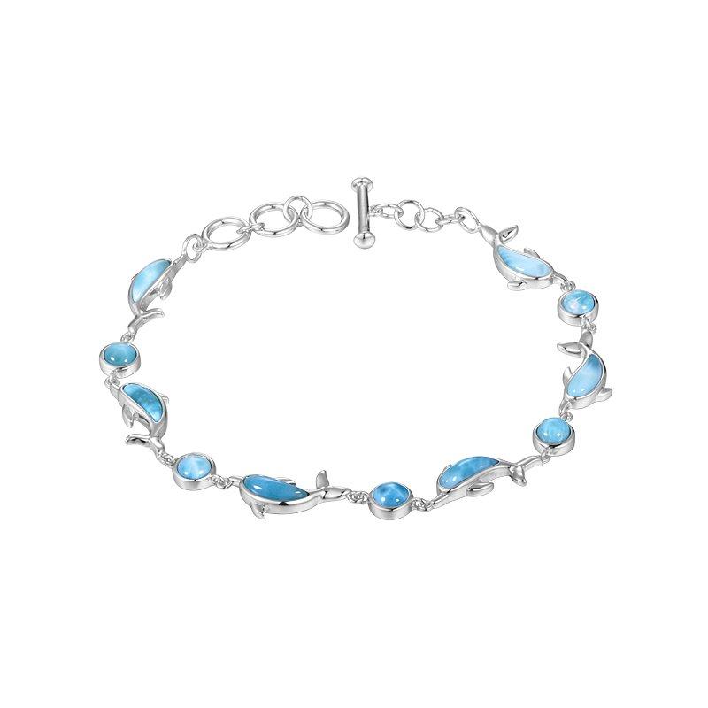 Alamea Larimar  Sterling Silver Dolphin and Ball Larimar Bracelet