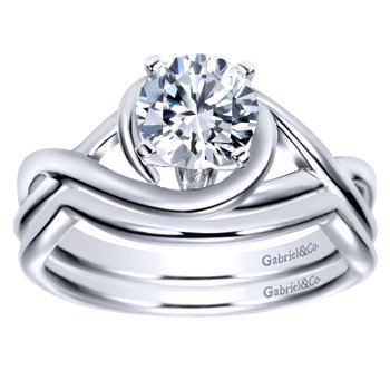 14k White Gold Criss Cross Engagement Ring Mounting by Gabriel NY
