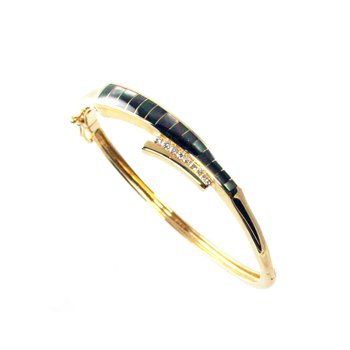 Black Mother of Pearl Inlay & Diamond Bracelet in 14k Yellow Gold