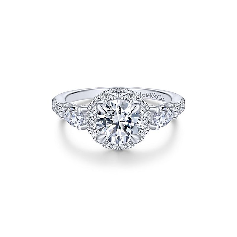Gabriel NY 14k White Gold Round Halo Engagement Ring with Pear Shape Accent Diamonds by Gabriel NY