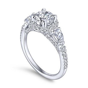 14k White Gold Round Halo Engagement Ring with Pear Shape Accent Diamonds by Gabriel NY