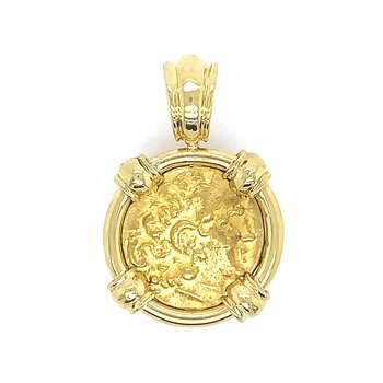 18k Yellow Gold Framed Greek Gold Stater