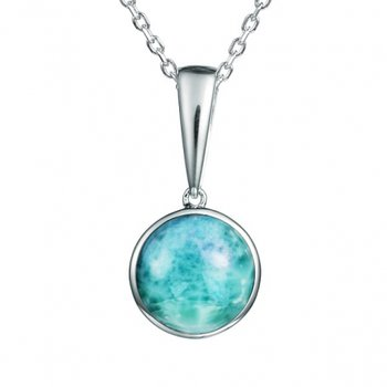 Alamea Sterling Silver Circle Pendant with Larimar