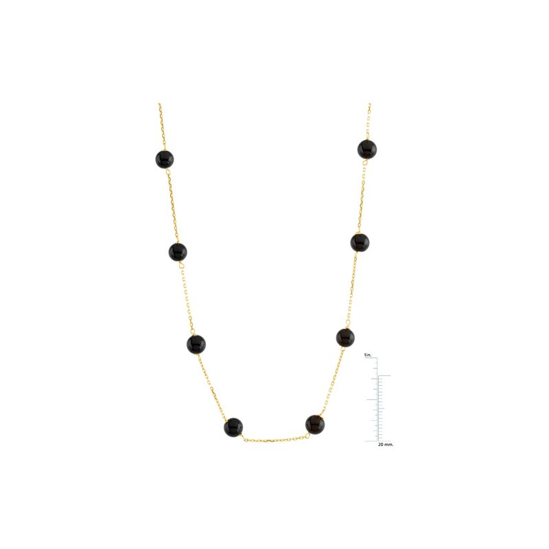 Signature Collection Genuine Black Onyx Station Necklace
