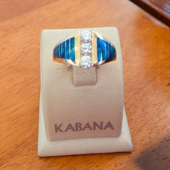 Kabana 14k Yellow Gold Australian Opal and Diamond Ring - #35893