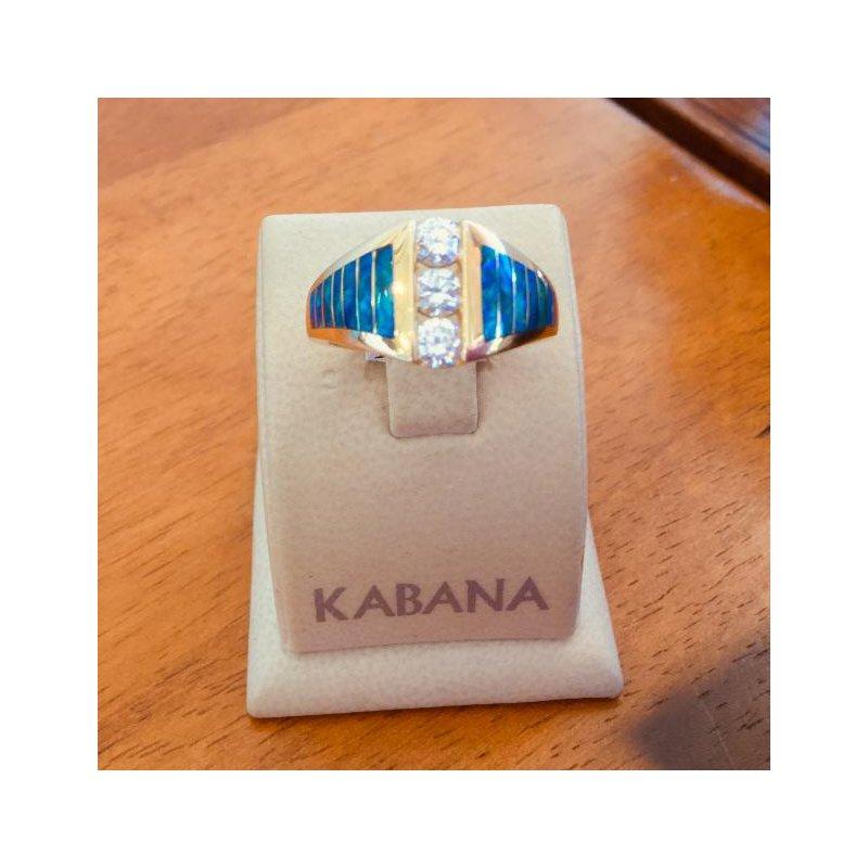Kabana Jewelry Kabana 14k Yellow Gold Australian Opal and Diamond Ring - #35893