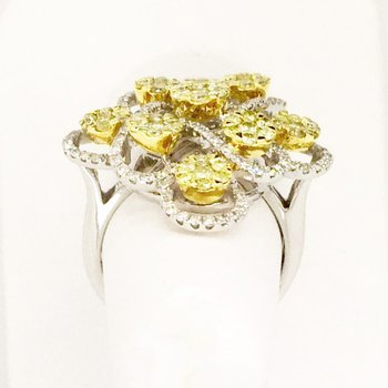 Fancy Yellow & White Diamond Cocktail Ring in 18k White and Yellow Gold