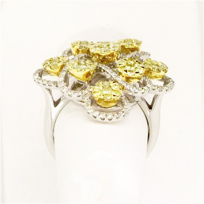 Signature Collection Fancy Yellow & White Diamond Cocktail Ring in 18k White and Yellow Gold