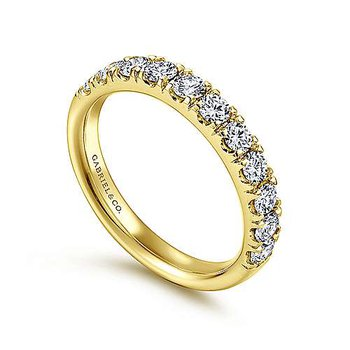 14k Yellow Gold French Pave' Diamond Wedding or Anniversary Band by Gabriel NY