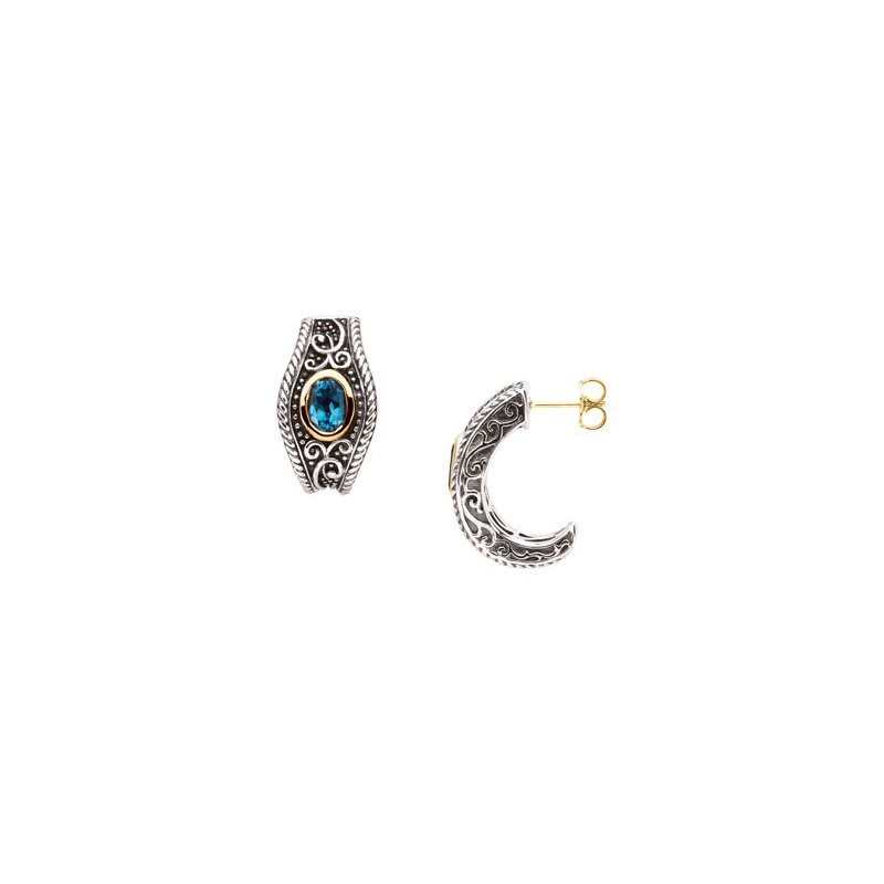 Signature Collection Genuine Swiss Blue Topaz Earrings