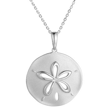 Sterling Silver Sand Dollar Pendant with a Satin Finish