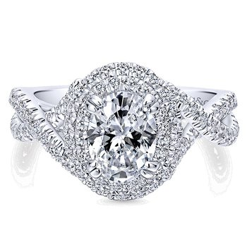 14k White Gold Oval Double Halo Twist Band Engagement Ring from the Gabriel NY Collection