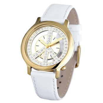Ladies Peace Movement Watch Gold Plated with White Leather Strap