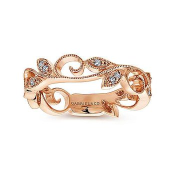14k Rose Gold Scrolling Floral Ring by Gabriel NY
