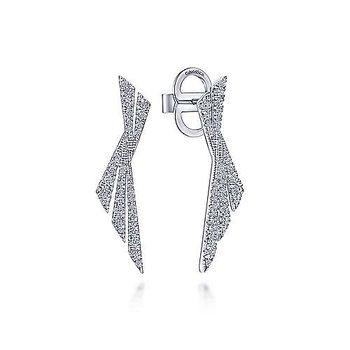 14k White Gold Twisted X Diamond Stud Earrings by Gabriel NY