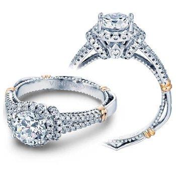 Verragio Parisian D-117R - 14k White and Rose Gold Diamond Halo Engagement Ring by Verragio