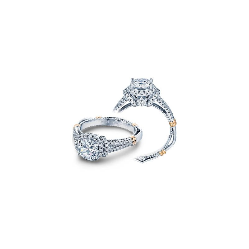 Verragio Verragio Parisian D-117R - 14k White and Rose Gold Diamond Halo Engagement Ring by Verragio