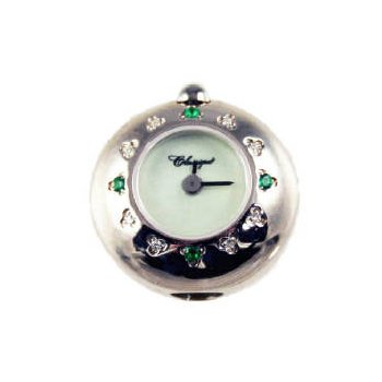Sterling Silver Bead Watch with Emeralds and Diamonds and Green Mother of Pearl