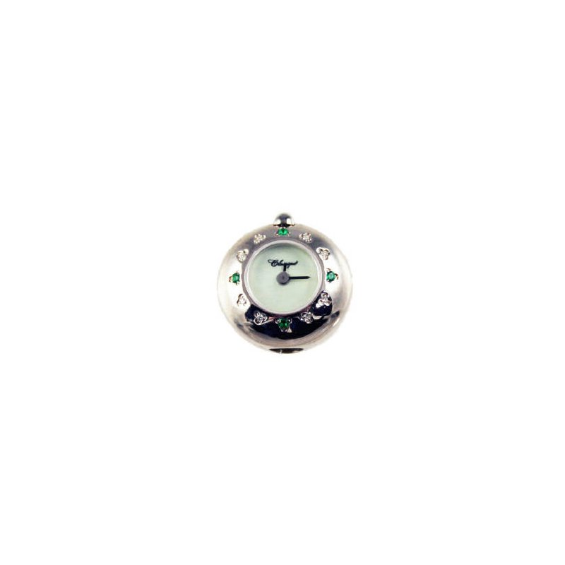 Swiss Watches Sterling Silver Bead Watch with Emeralds and Diamonds and Green Mother of Pearl