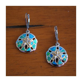 Sterling Silver and 18k Yellow Gold Plated Kyocera Lab Created Opal Leverback Sanddollar Earrings