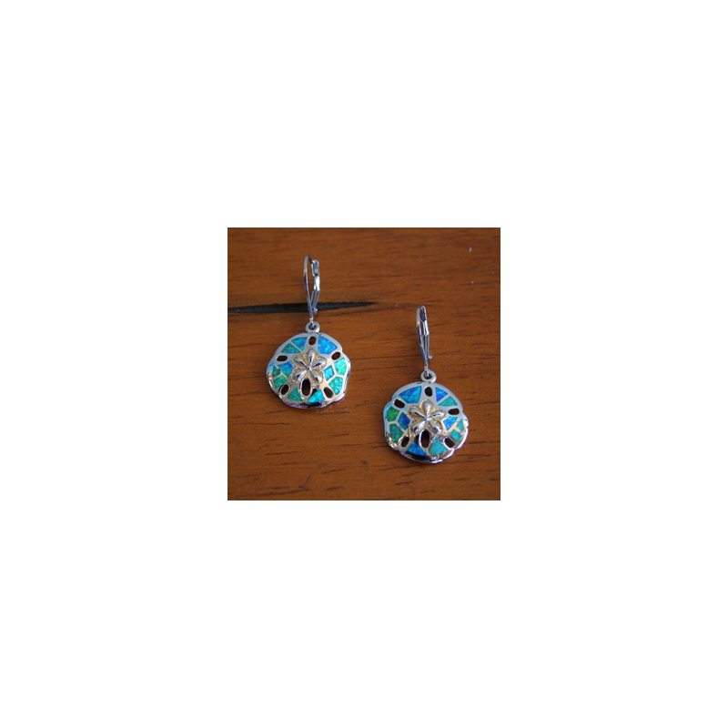 Kovel Sealife Sterling Silver and 18k Yellow Gold Plated Kyocera Lab Created Opal Leverback Sanddollar Earrings