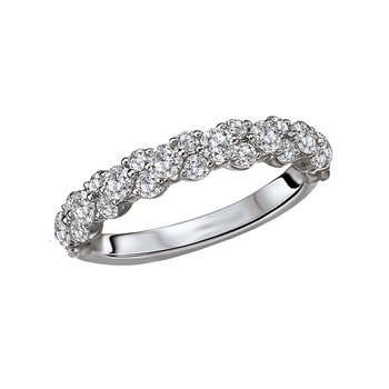 14k White Gold Cluster Diamond Wedding Band