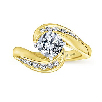 Hayley 14k Yellow Gold Bypass Diamond Engagement Ring by Gabriel NY