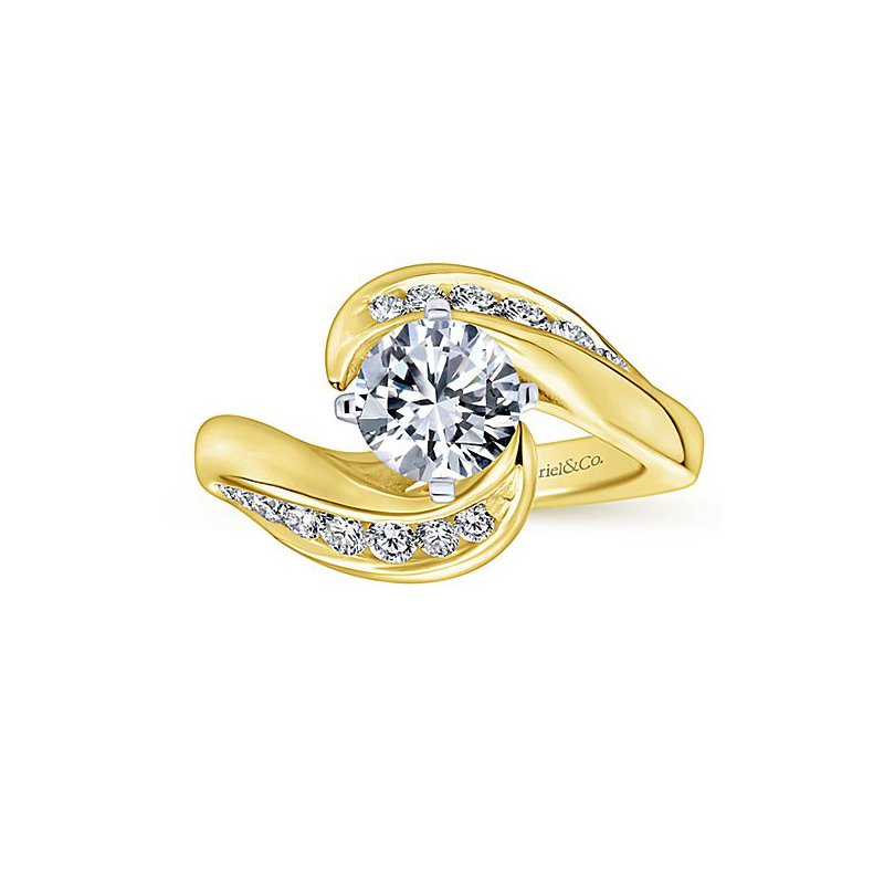 Gabriel Ny Hayley 14k Yellow Gold Bypass Diamond Engagement Ring By Gabriel Ny Emerald Lady Jewelry