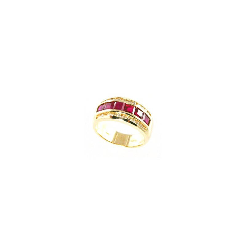 Signature Collection Genuine Ruby and Diamond Ring in 14k Yellow Gold