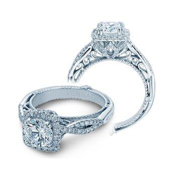 Verragio Venetian-5062-CU - 14k White Gold Cushion Halo Diamond Twist Band Engagement Ring by Verragio