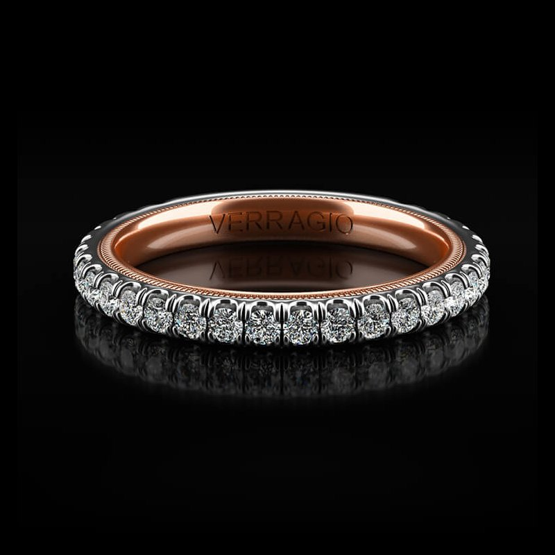 Verragio Tradition Collection Wedding Band - Style #TR180-2WR in 14k White and Rose Gold