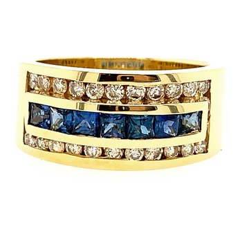 Genuine Blue Sapphire and Diamond Ring in 14k Yellow Gold - 2335
