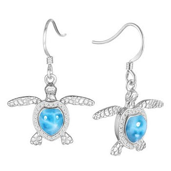 Alamea Sterling Silver Turtle Earrings with Larimar and Cubic Zirconia