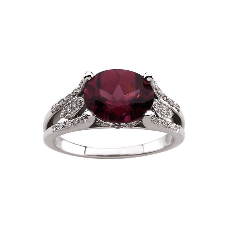Signature Collection Genuine Rhodolite Garnet & Diamond Ring