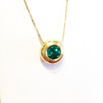18k Yellow Gold Round Bezel Set Colombian Emerald Pendant - #32832