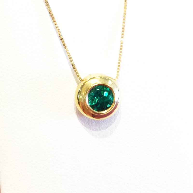Signature Collection 18k Yellow Gold Round Bezel Set Colombian Emerald Pendant - #32832